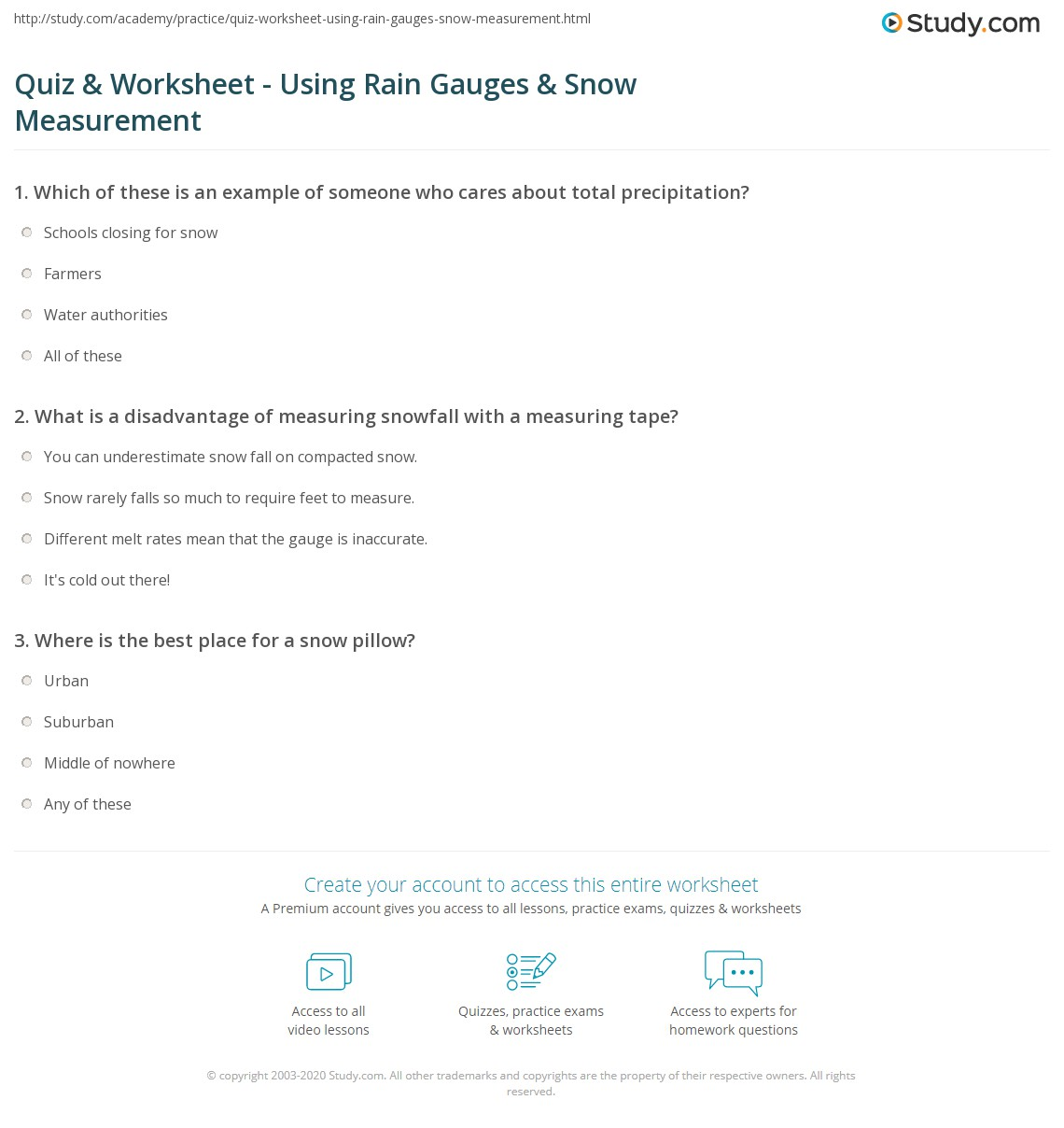 quiz worksheet using rain gauges snow measurement. Black Bedroom Furniture Sets. Home Design Ideas