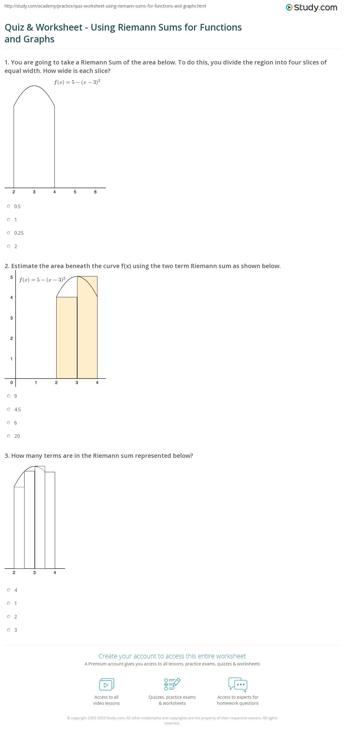 worksheet Riemann Sum Worksheet quiz worksheet using riemann sums for functions and graphs print how to use worksheet