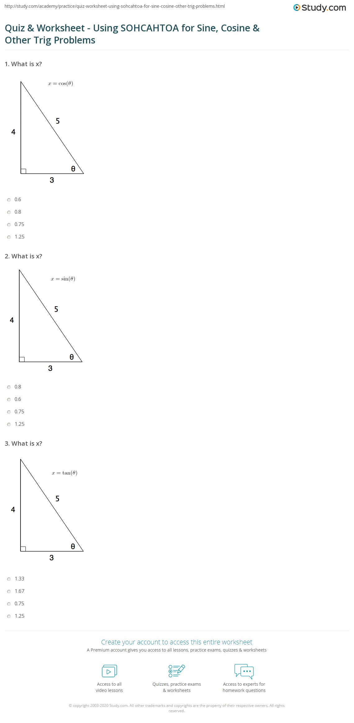 Quiz Worksheet Using Sohcahtoa For Sine Cosine