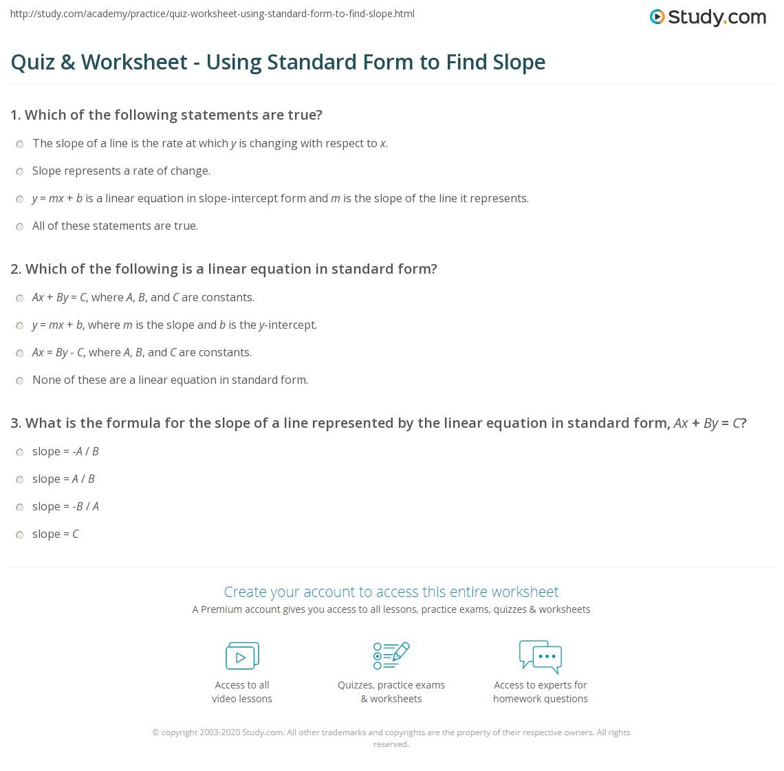 Quiz Worksheet Using Standard Form To Find Slope Study