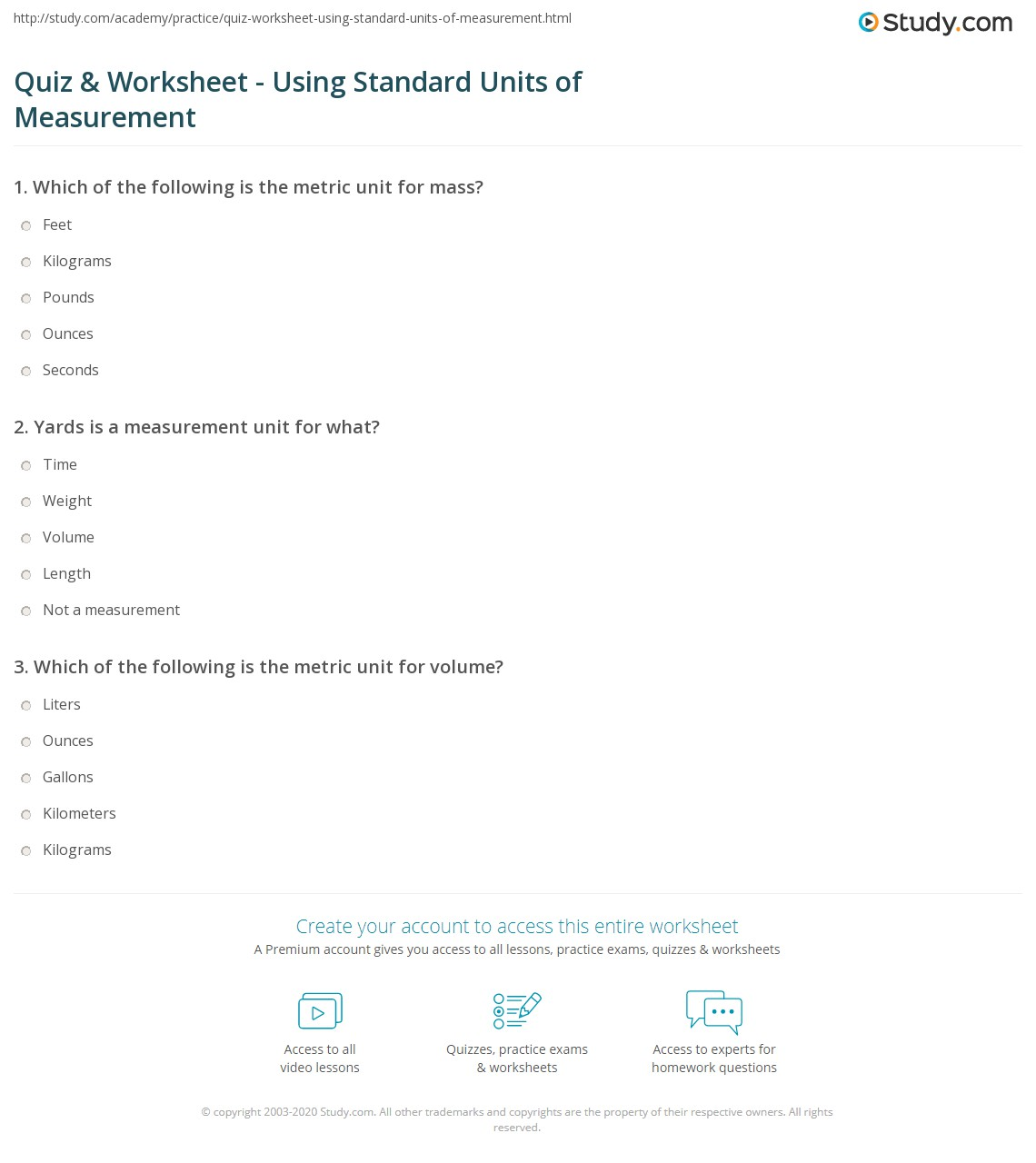 Quiz Worksheet Using Standard Units of Measurement – Measuring Units Worksheet