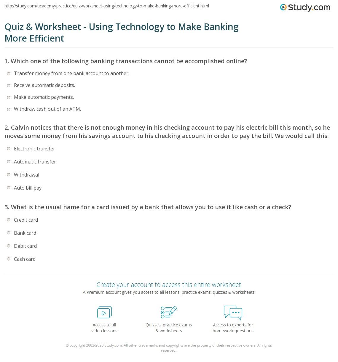 Quiz & Worksheet - Using Technology to Make Banking More