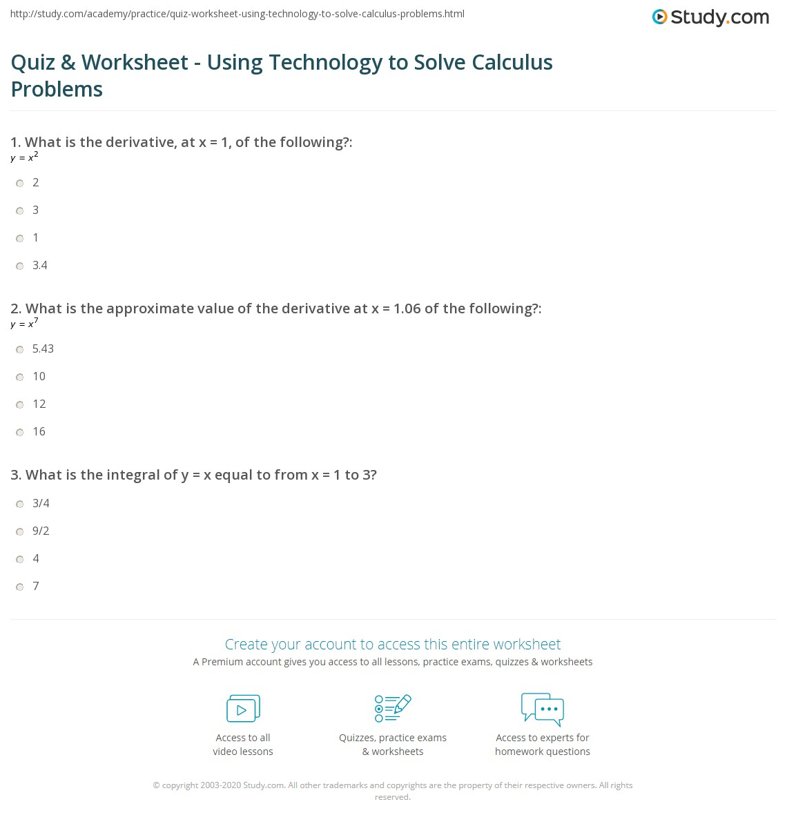 Quiz & Worksheet - Using Technology to Solve Calculus