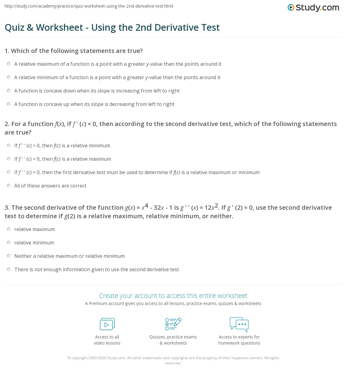 worksheet Second Derivative Worksheet quiz worksheet using the 2nd derivative test study com print how to use second worksheet