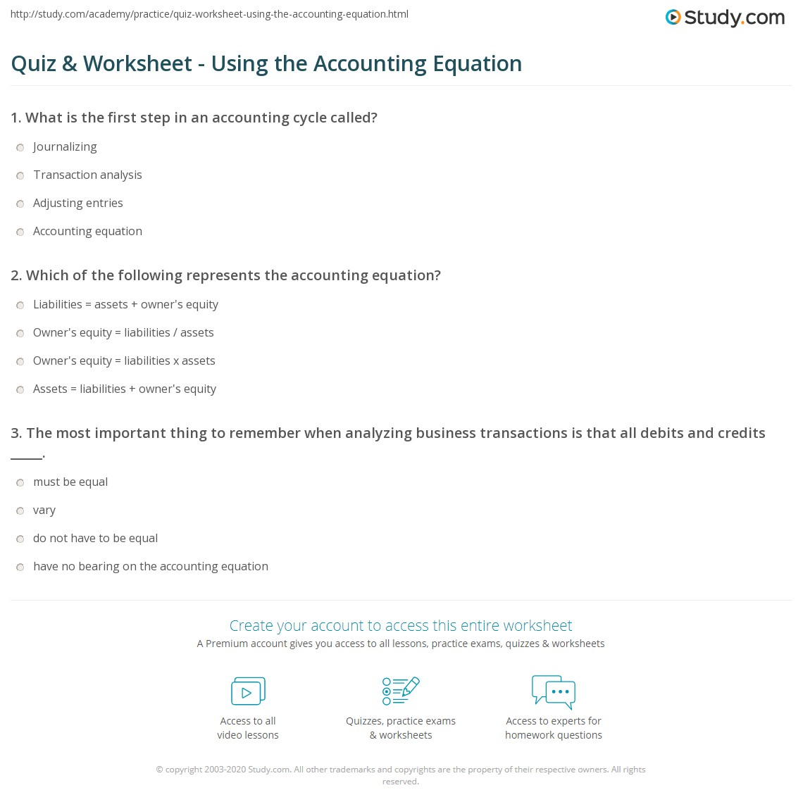 Accounting: Quiz & Worksheet - Using The Accounting Equation