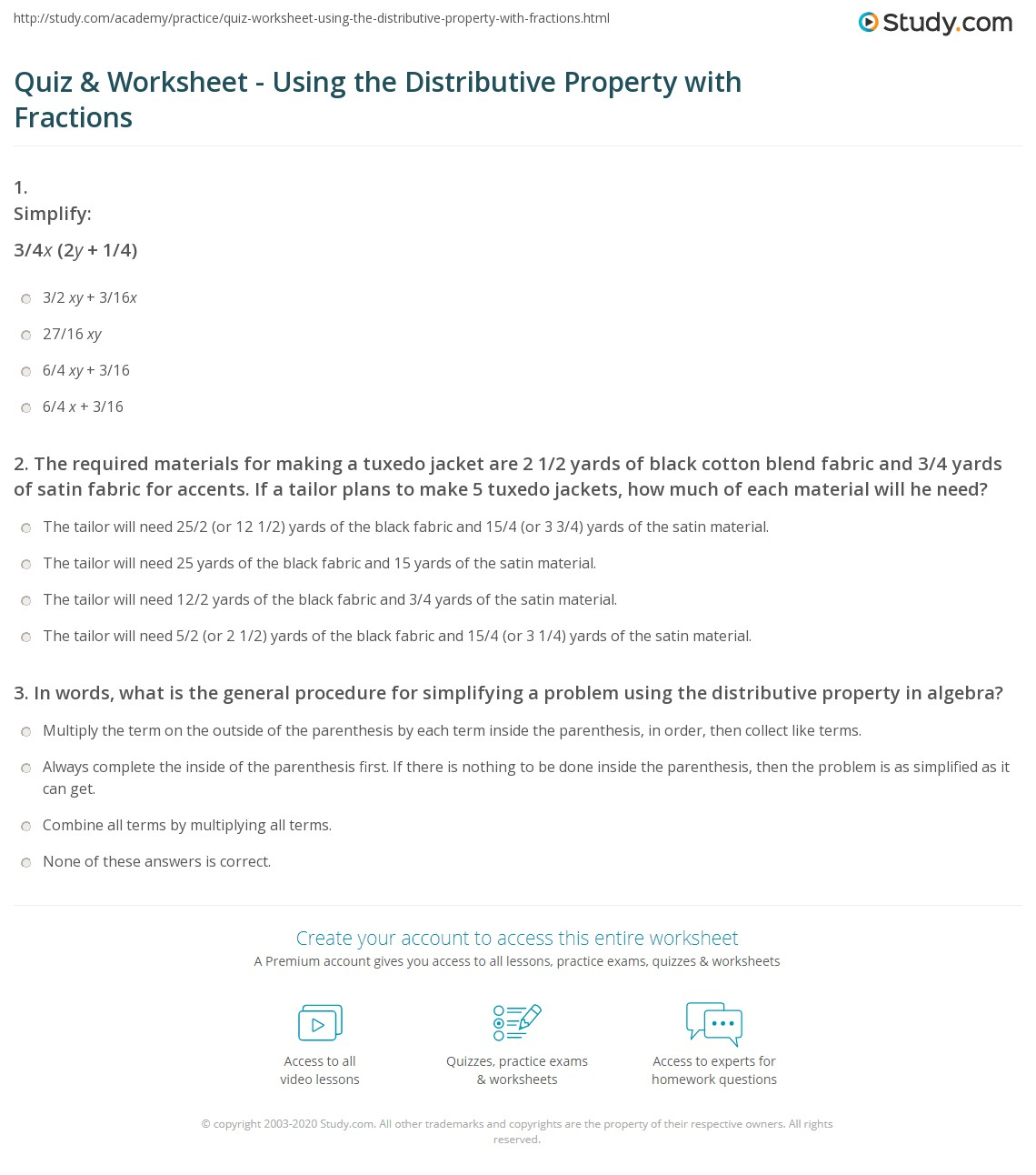 Worksheets  Quiz & Worksheet - Using the Distributive Property with Fracti