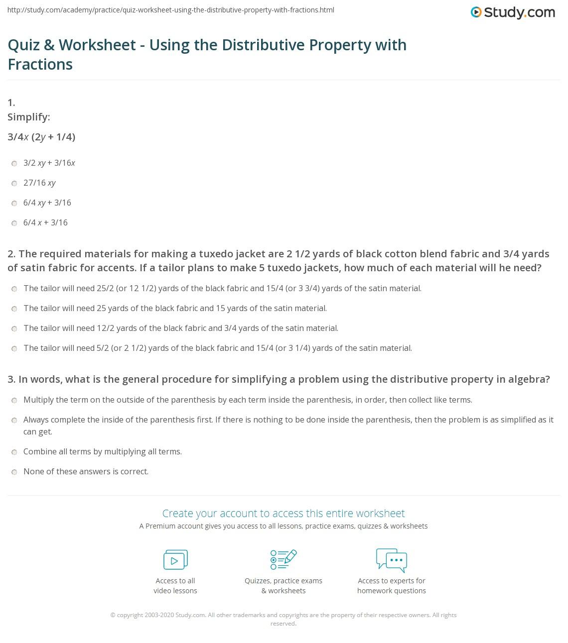 quiz worksheet using the distributive property with fractions. Black Bedroom Furniture Sets. Home Design Ideas