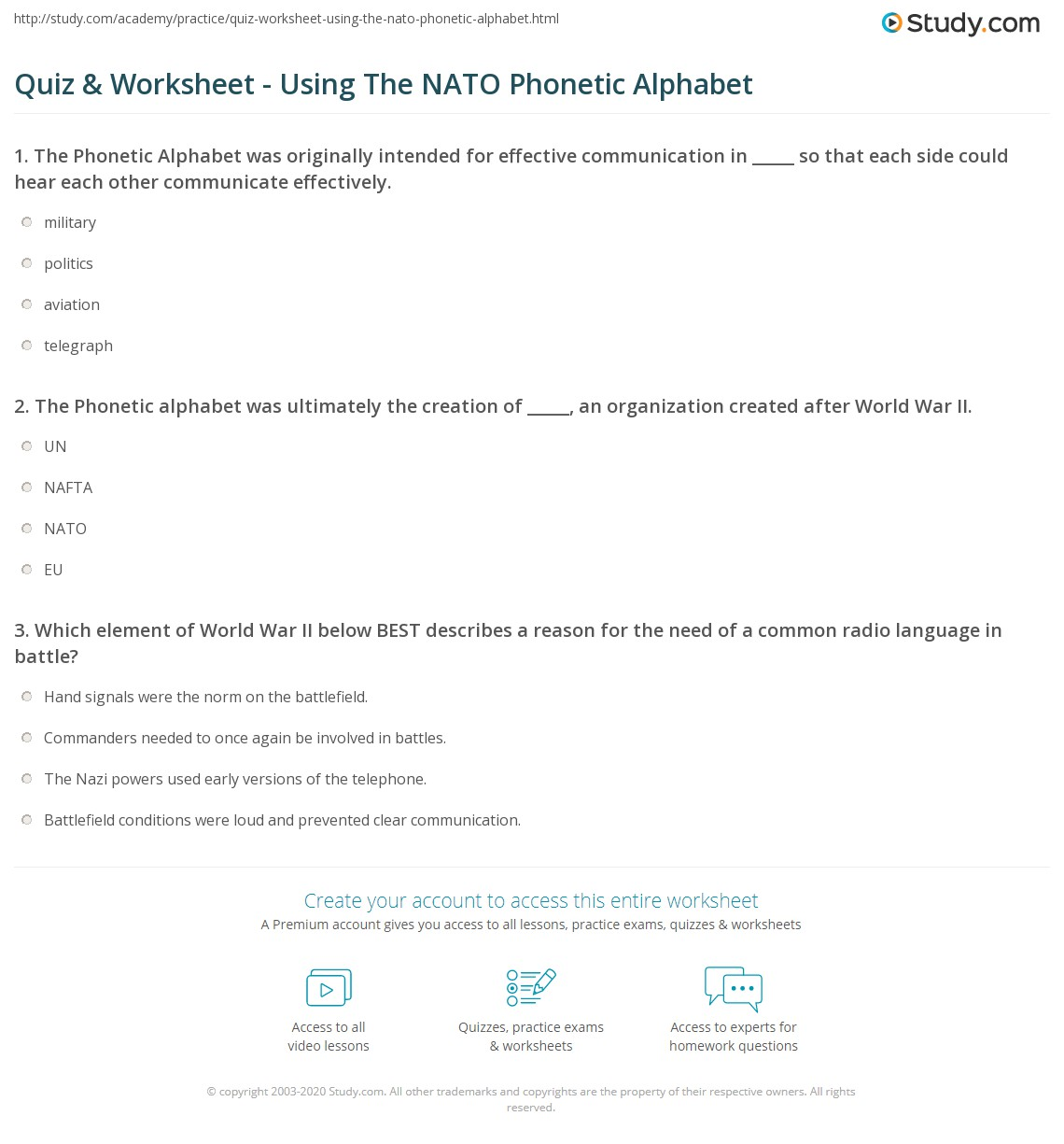 Quiz Worksheet Using The Nato Phonetic Alphabet Study Com