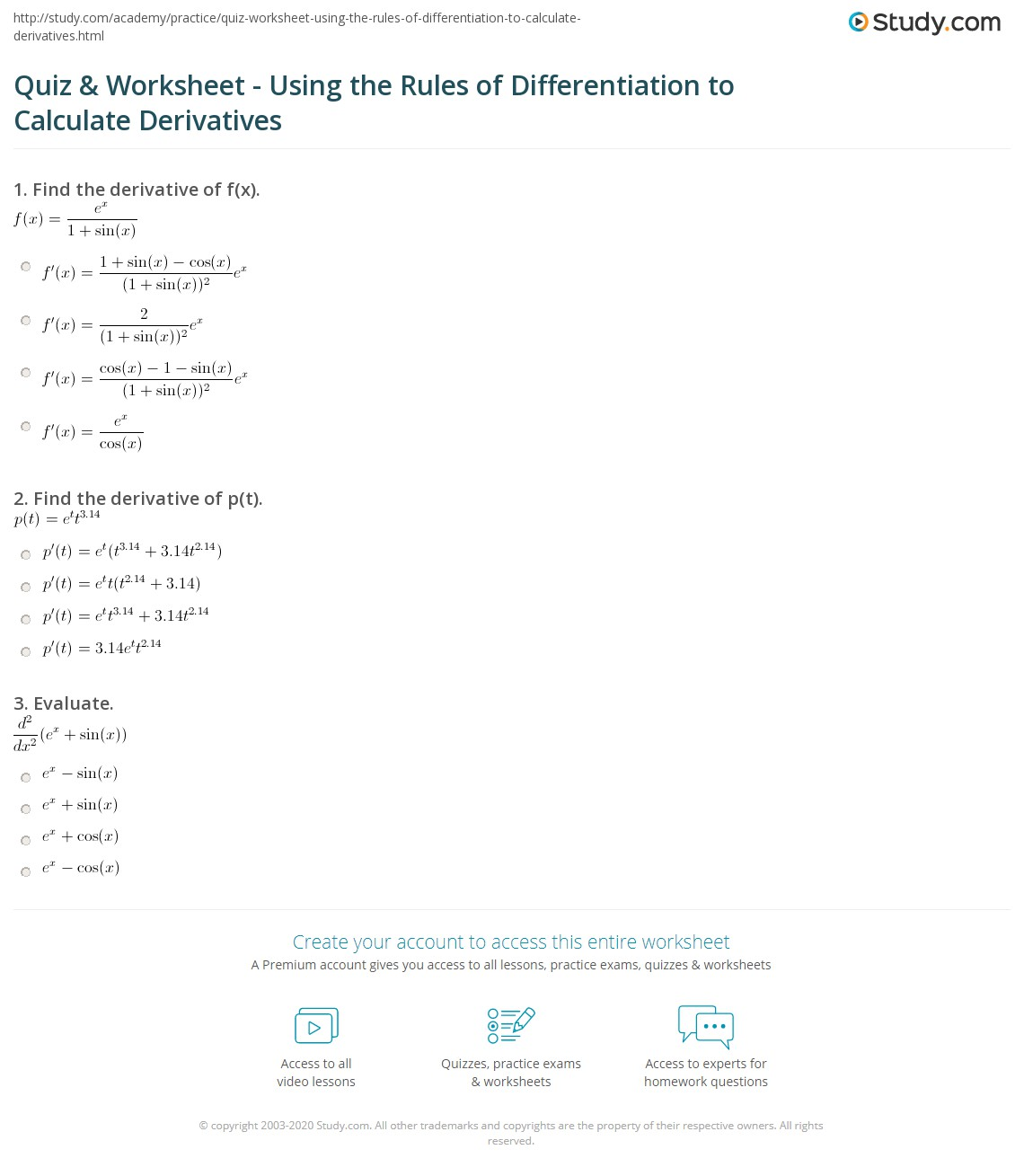 Worksheets Derivatives Worksheet quiz worksheet using the rules of differentiation to calculate print applying derivatives worksheet