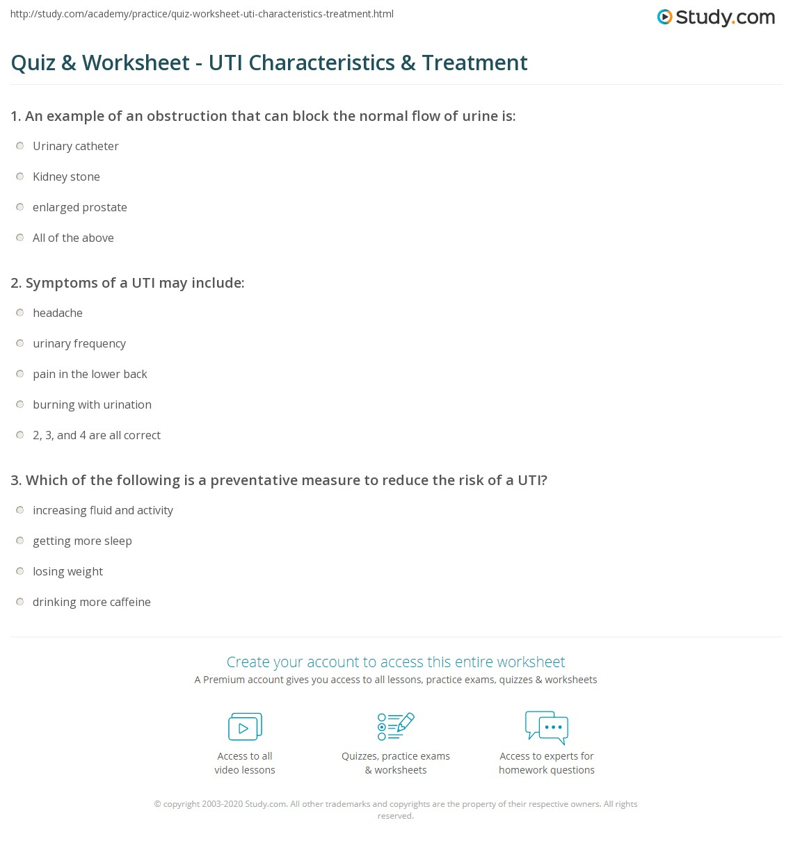 worksheet Human Urinary Tract And Kidney Worksheet quiz worksheet uti characteristics treatment study com print urinary tract infection symptoms causes worksheet