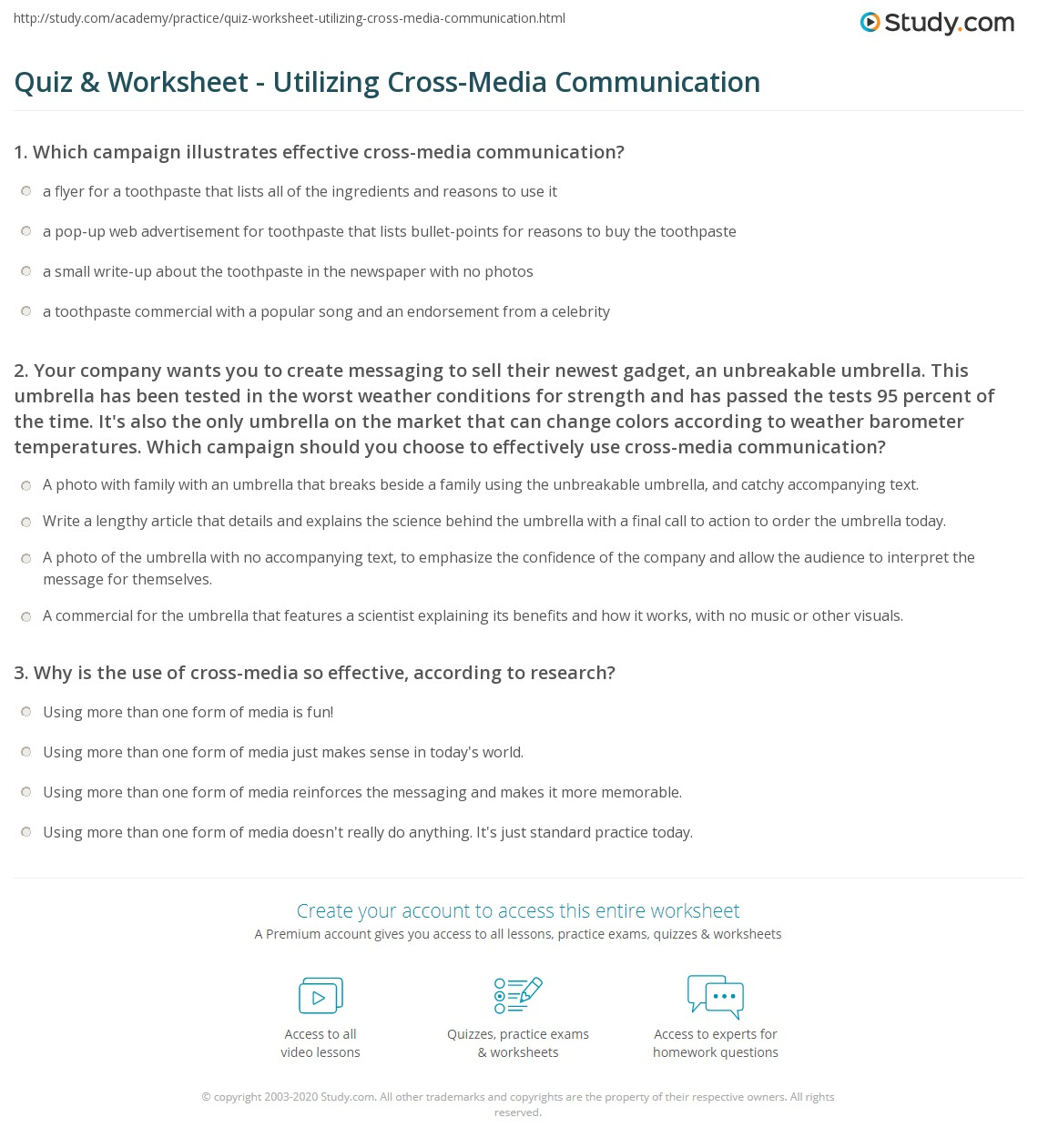 Quiz & Worksheet Utilizing Cross Media munication