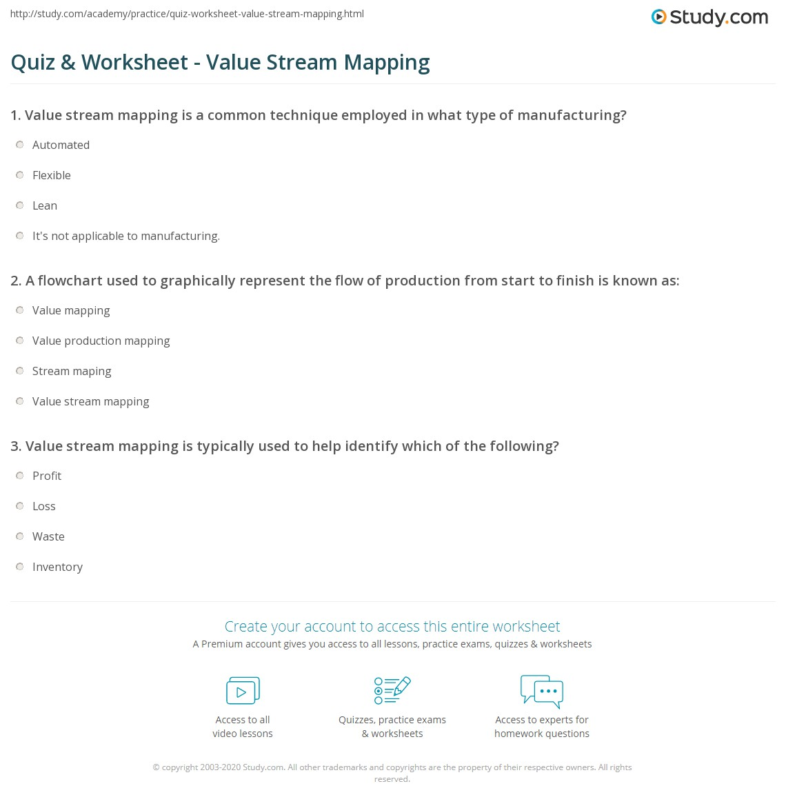 Quiz Worksheet Value Stream Mapping Process Flow Diagram Vs Map Print Purpose Use Examples
