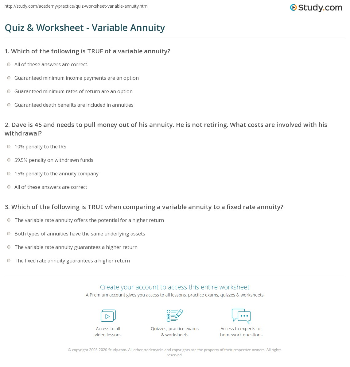 quiz & worksheet - variable annuity | study