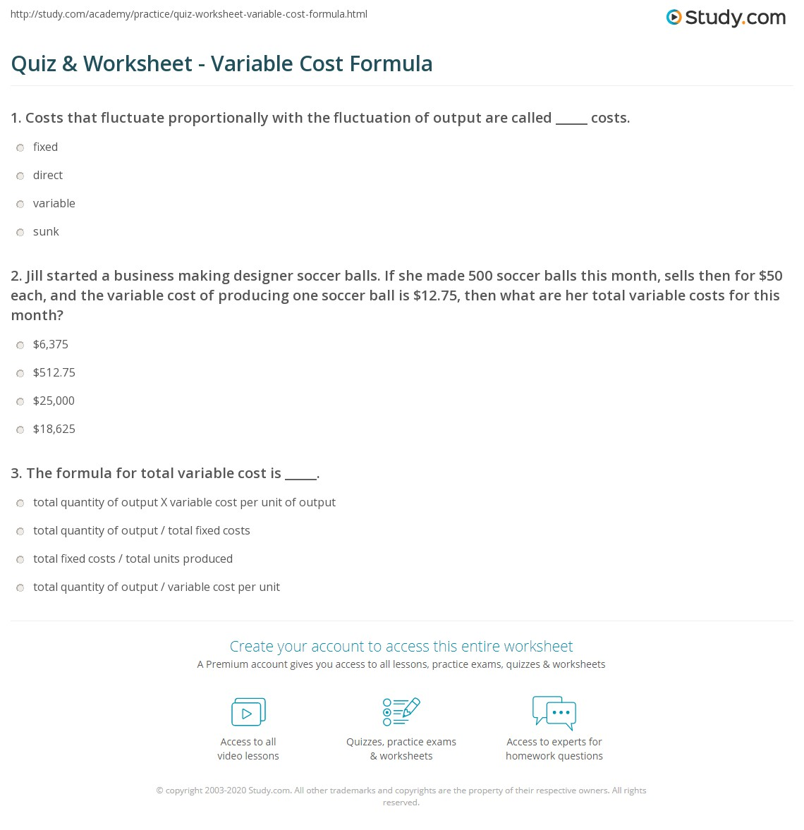 Quiz Worksheet Variable Cost Formula Study