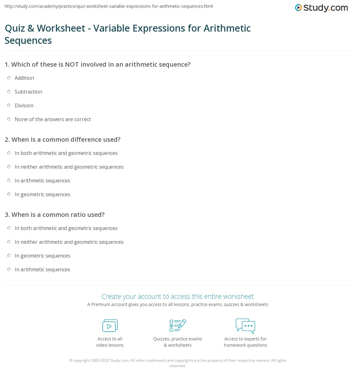 Worksheets Variables And Expressions Worksheets quiz worksheet variable expressions for arithmetic sequences print how to evaluate write worksheet