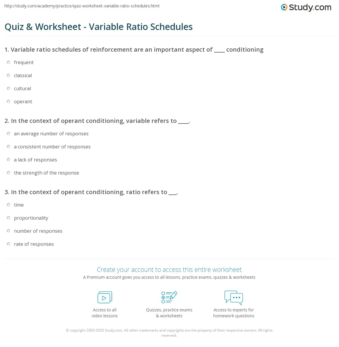 Worksheets Schedules Of Reinforcement Worksheet quiz worksheet variable ratio schedules study com print examples definition worksheet