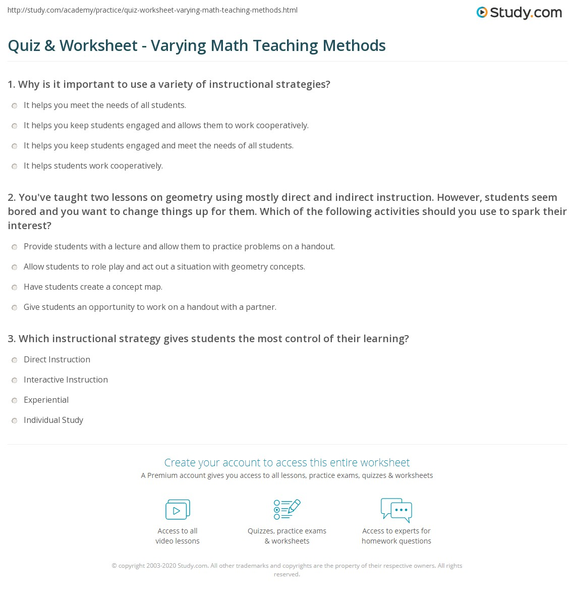 Quiz Worksheet Varying Math Teaching Methods Study