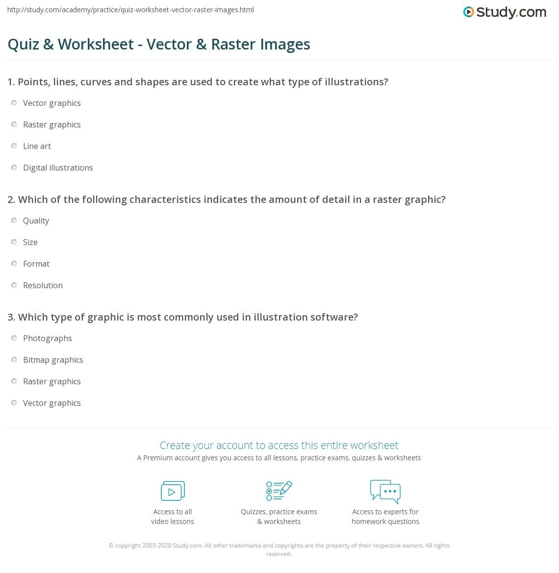Quiz & Worksheet - Vector & Raster Images | Study.com