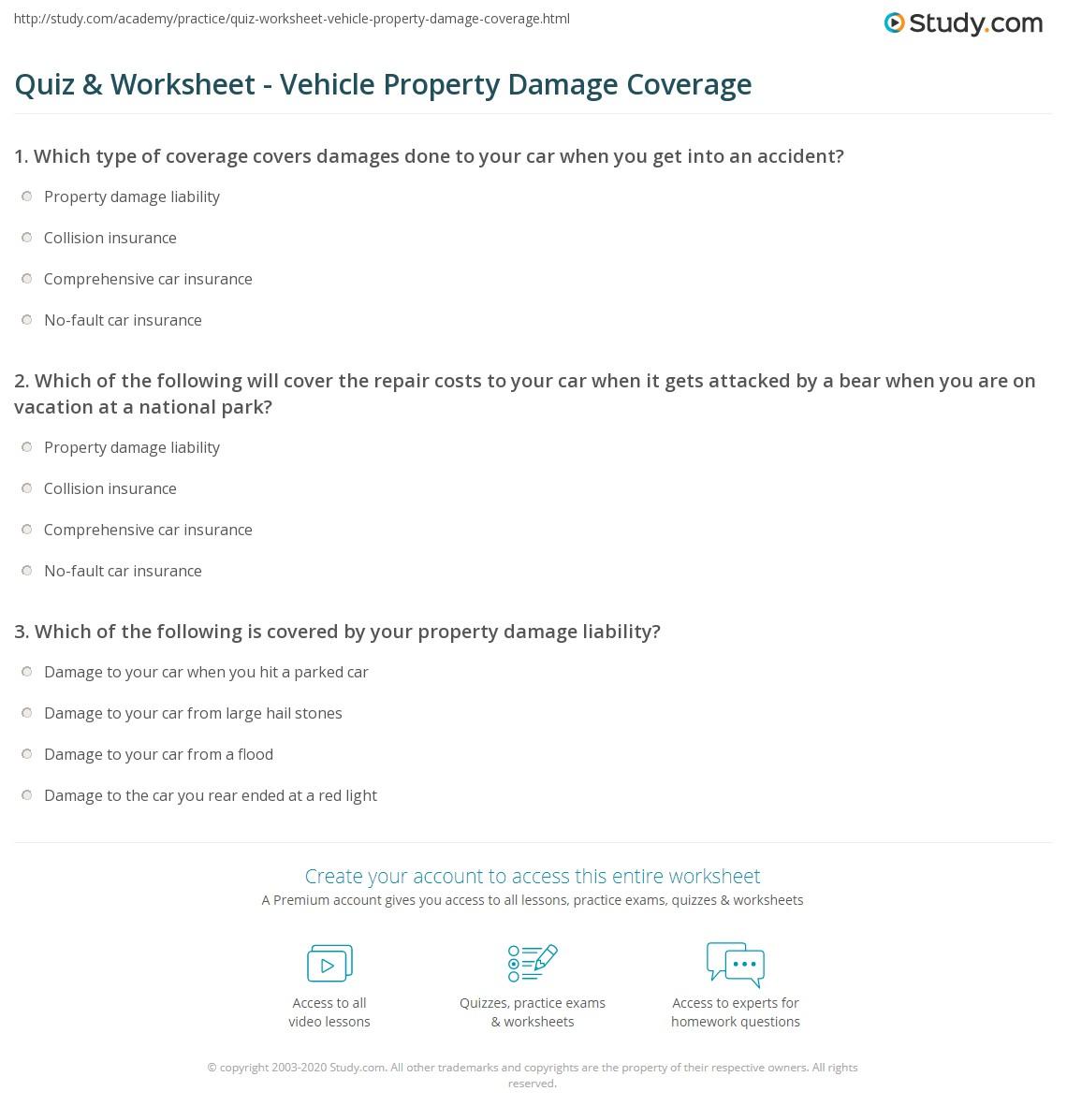 Quiz Worksheet Vehicle Property Damage Coverage Study