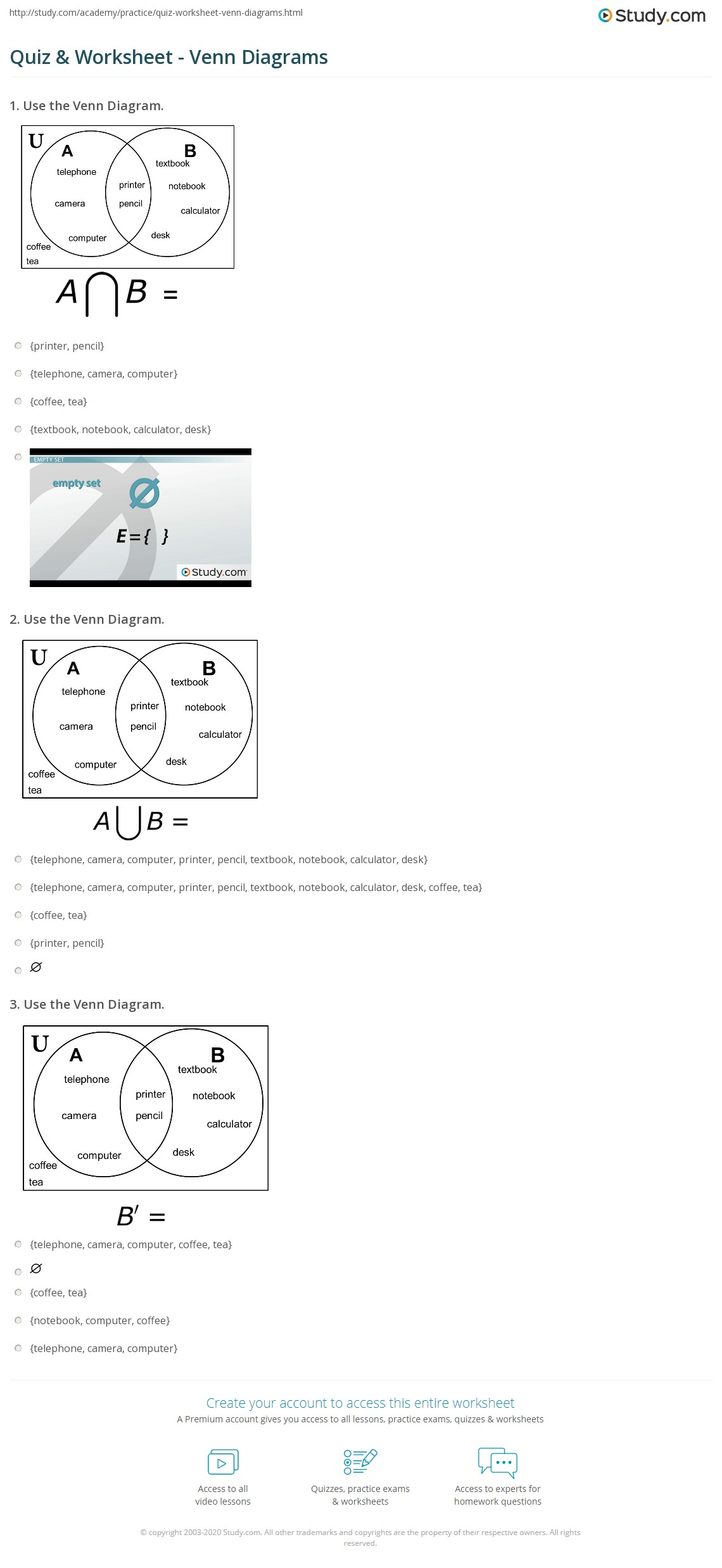 quiz & worksheet - venn diagrams | study