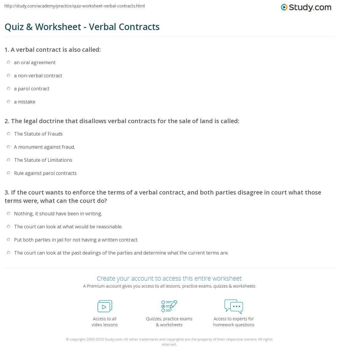 Quiz Worksheet Verbal Contracts Study