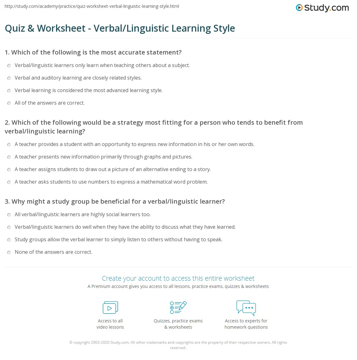 Quiz & Worksheet - Verbal/Linguistic Learning Style | Study.com