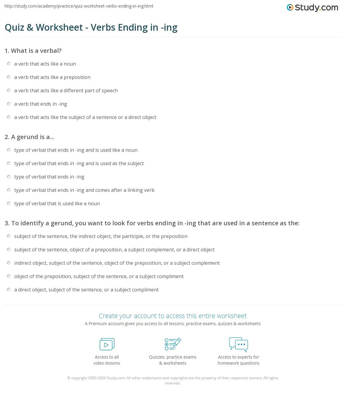 worksheet Ed Ing Worksheets ing worksheet calleveryonedaveday quiz verbs ending in study com