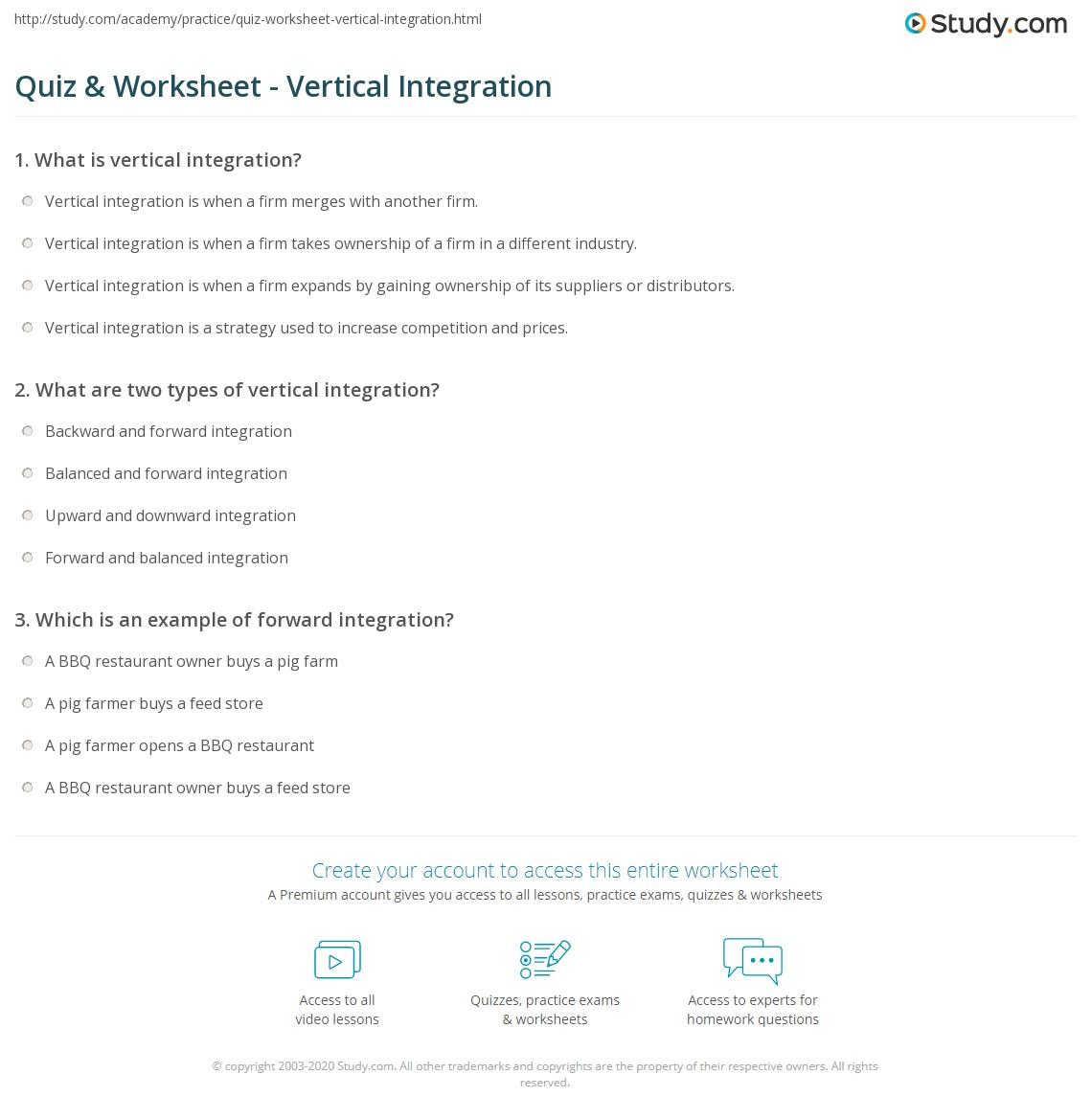 Quiz Worksheet Vertical Integration Study