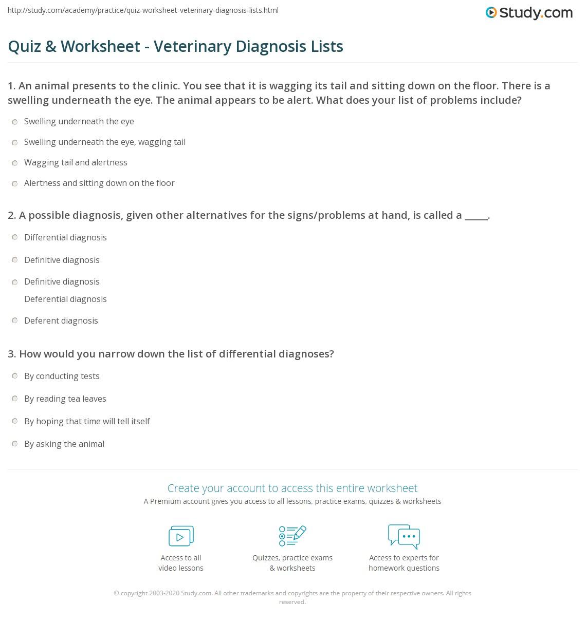 Quiz & Worksheet - Veterinary Diagnosis Lists | Study com