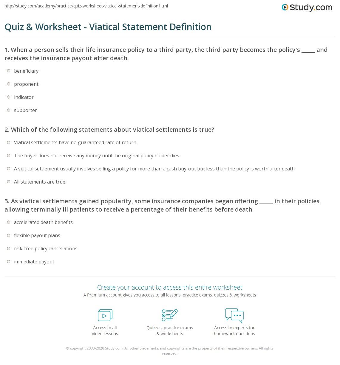 quiz & worksheet - viatical statement definition | study