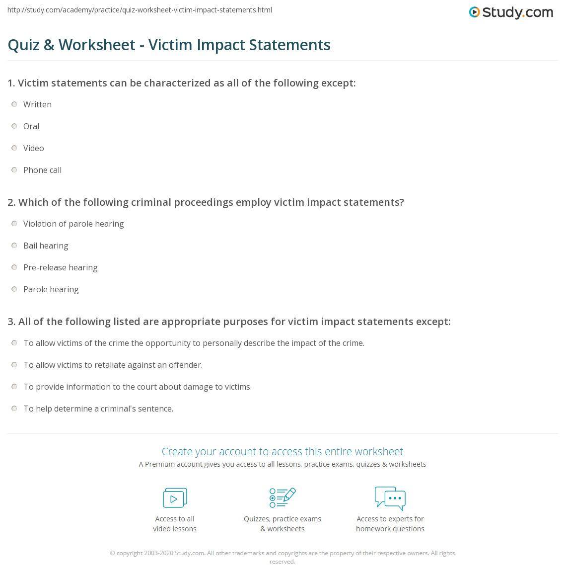 quiz worksheet victim impact statements study com