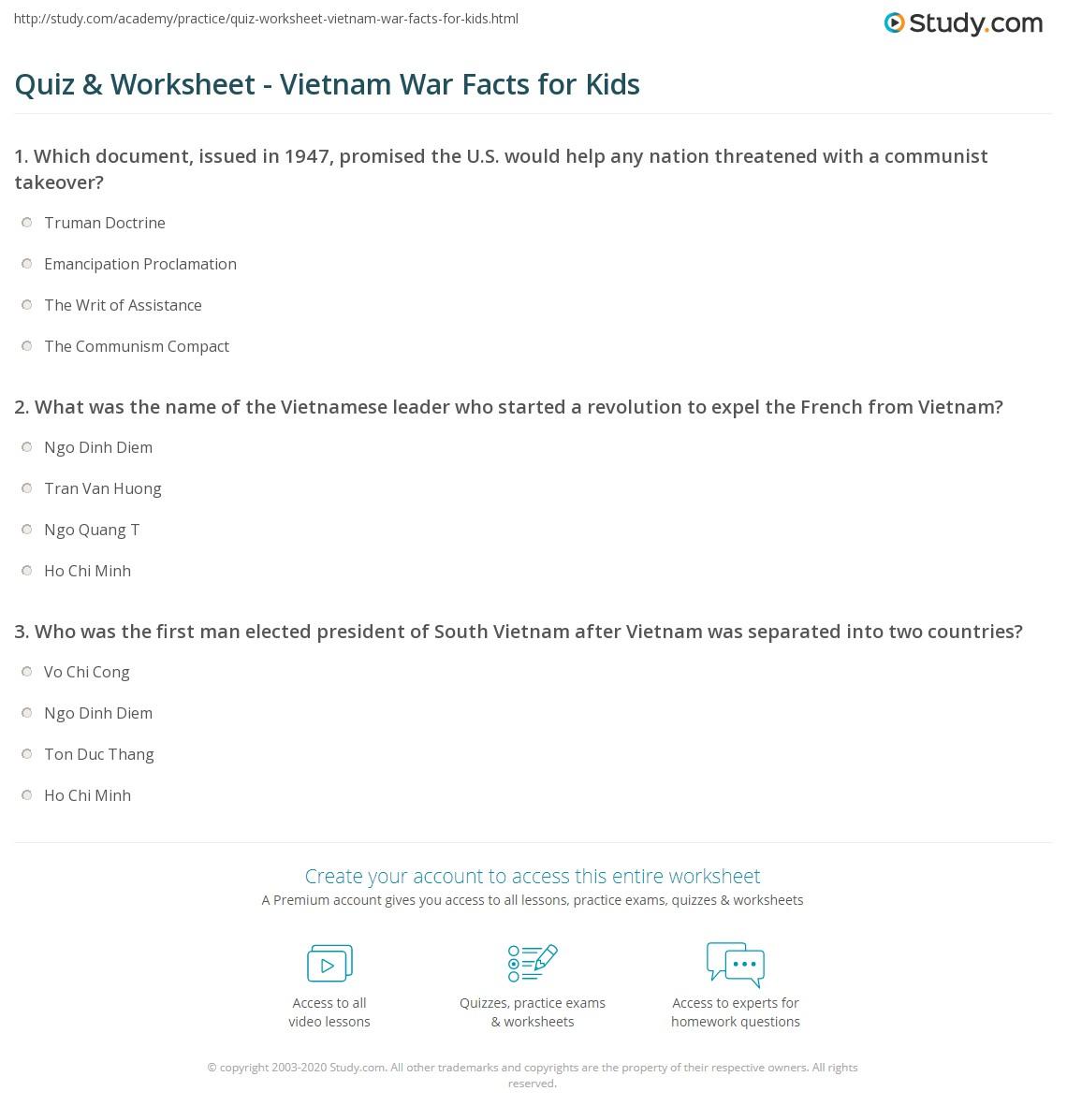 Quiz & Worksheet - Vietnam War Facts for Kids | Study.com