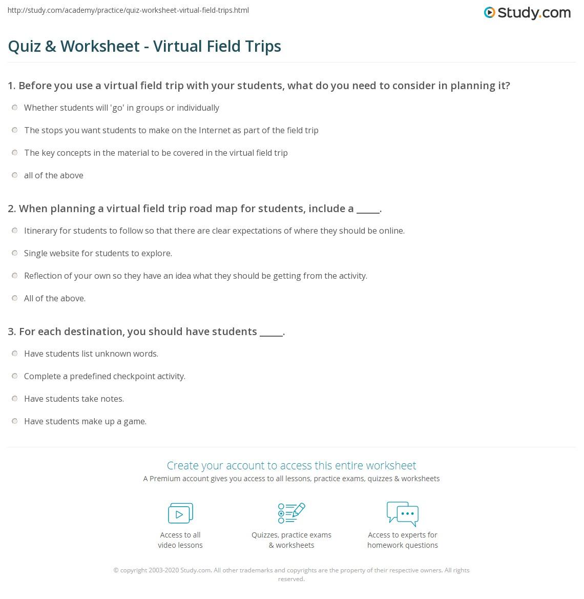 quiz & worksheet - virtual field trips | study