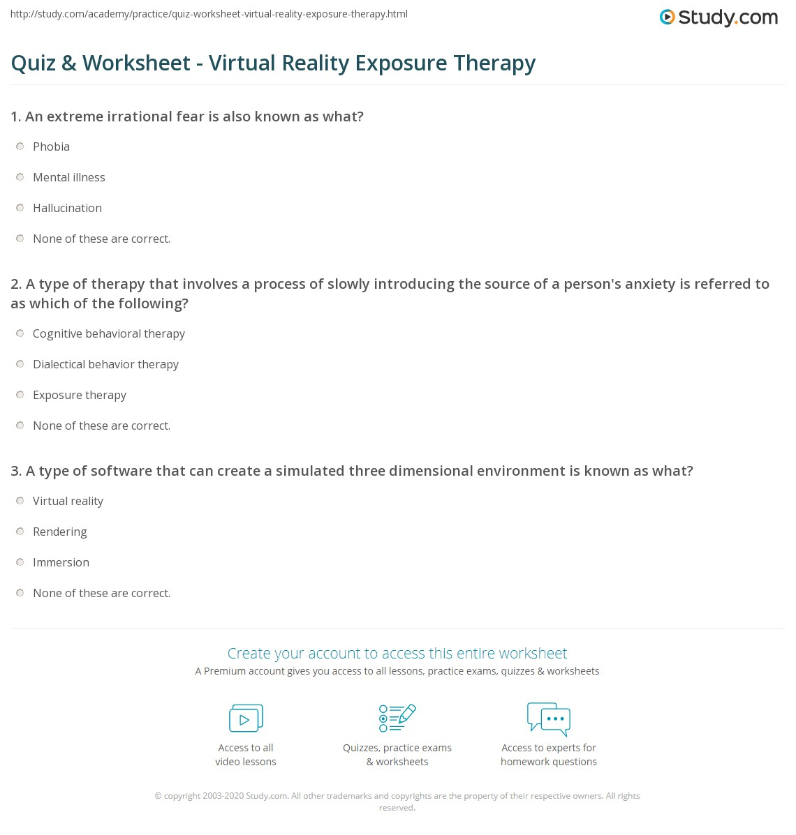 Quiz Worksheet Virtual Reality Exposure Therapy