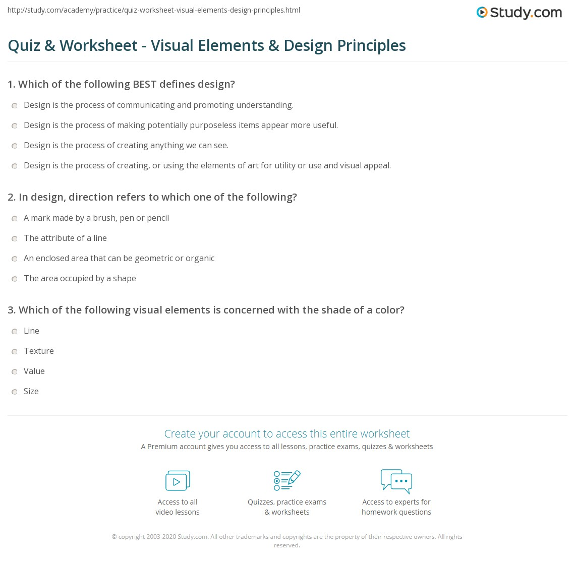 Quiz & Worksheet - Visual Elements & Design Principles | Study.com