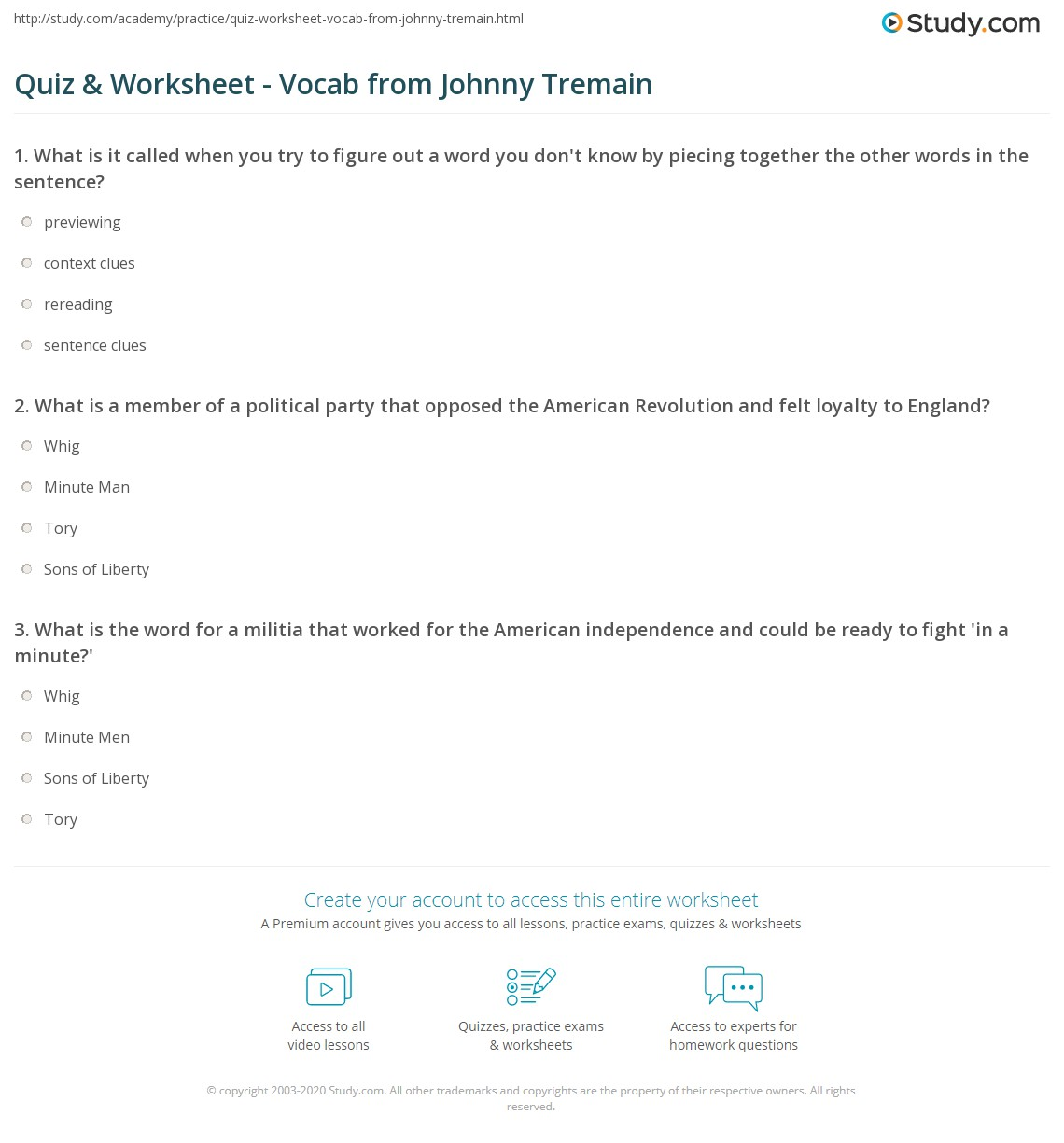 Quiz & Worksheet - Vocab from Johnny Tremain | Study.com