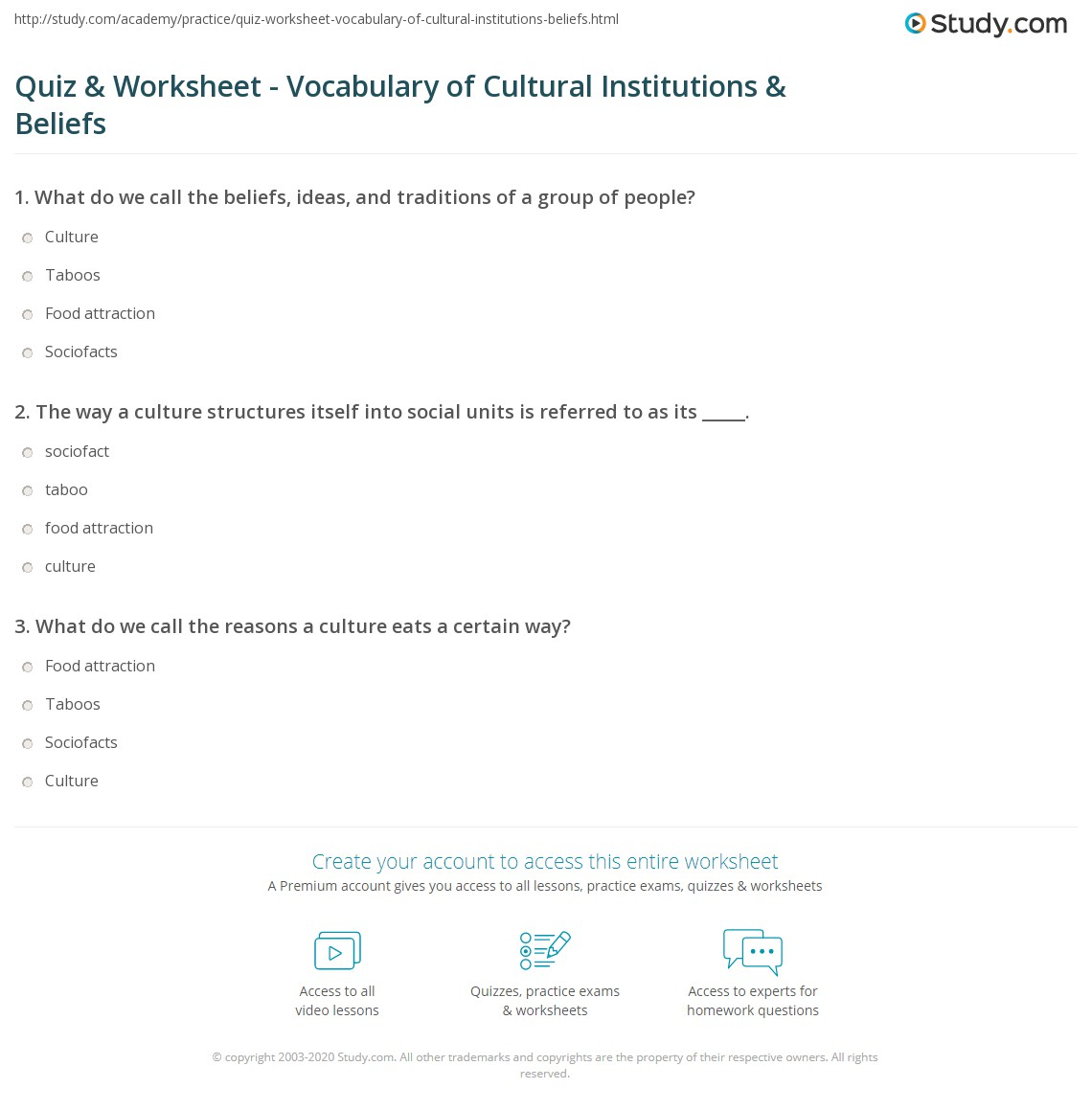 Quiz Worksheet Vocabulary Of Cultural Institutions Beliefs