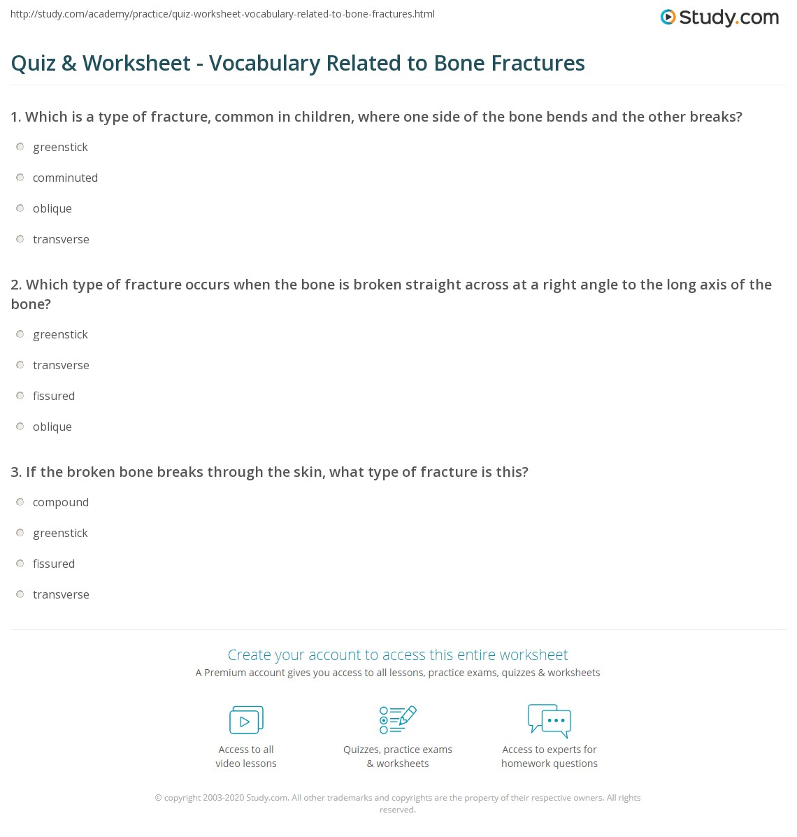 Quiz Worksheet Vocabulary Related To Bone Fractures Study