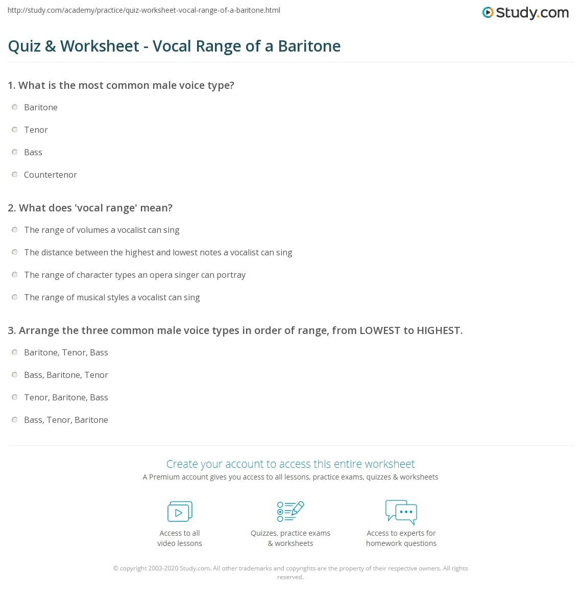 Print Baritone: Definition & Vocal Range Worksheet Quiz & Worksheet Vocal Range  Of A Baritone