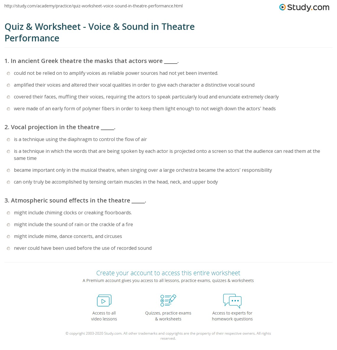 Quiz & Worksheet - Voice & Sound in Theatre Performance