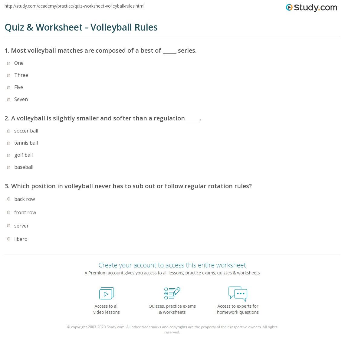 quiz u0026 worksheet volleyball rules study com