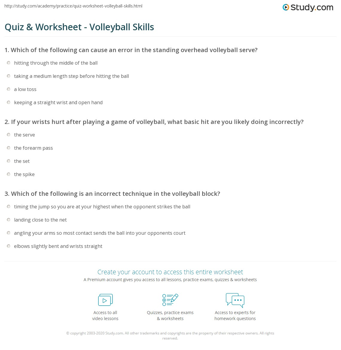 Worksheets Volleyball Worksheets quiz worksheet volleyball skills study com print worksheet