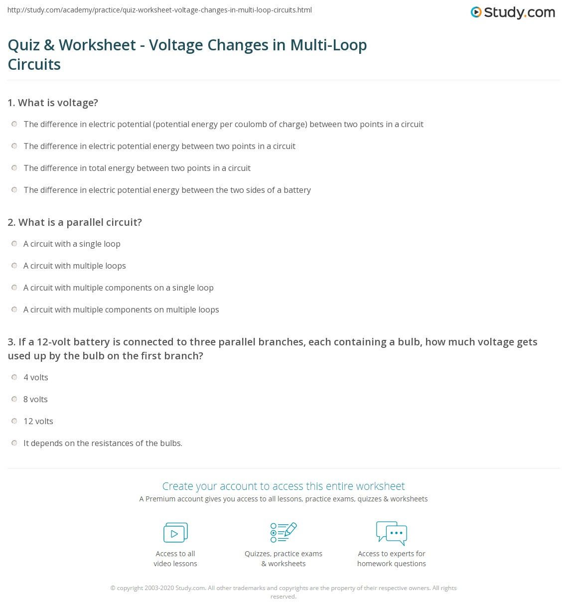 Quiz Worksheet Voltage Changes In Multi Loop Circuits Parallel Circuit Bulbs Are What Is A