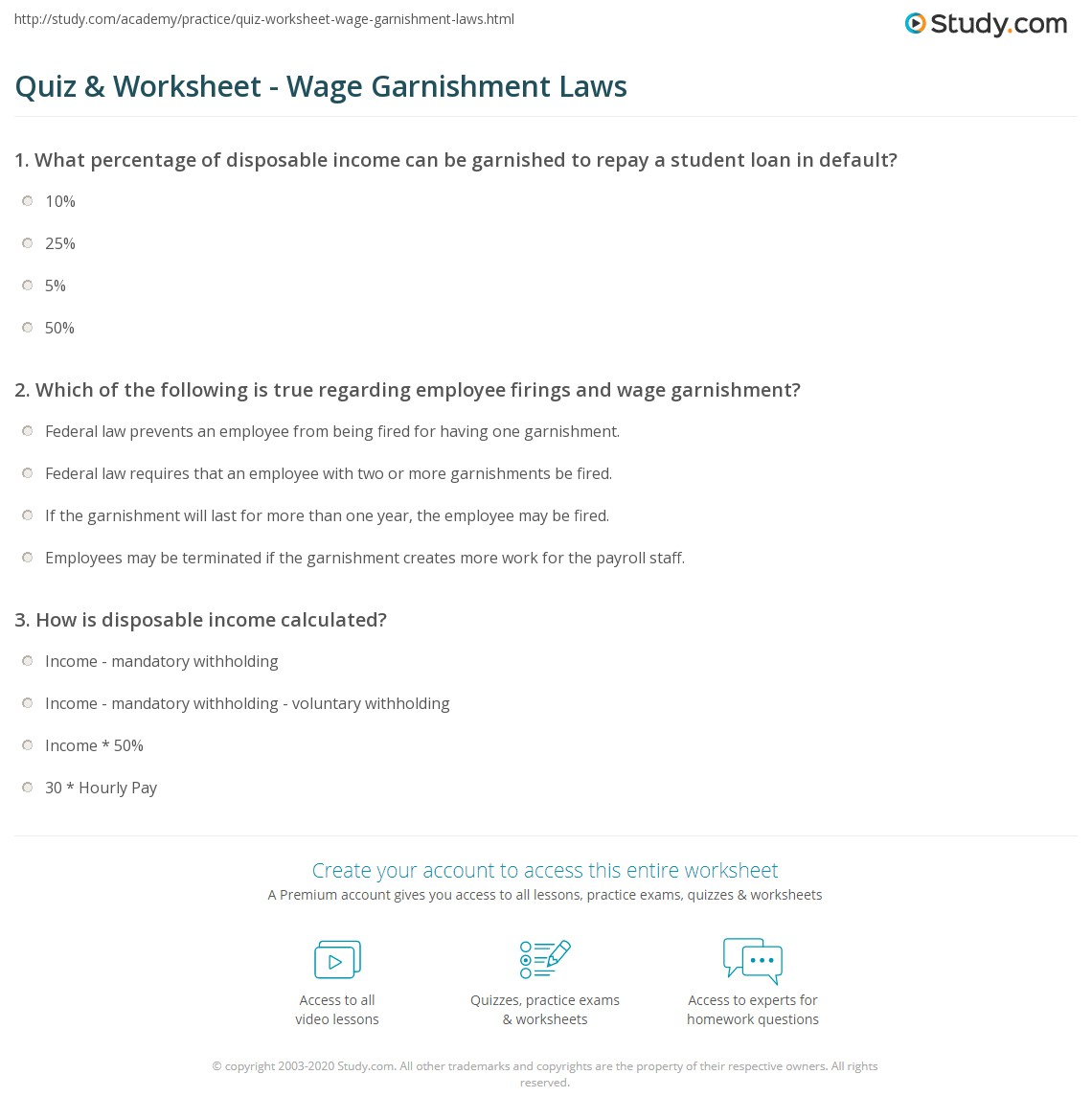 Worksheets Wage Garnishment Worksheet quiz worksheet wage garnishment laws study com print restrictions around worksheet