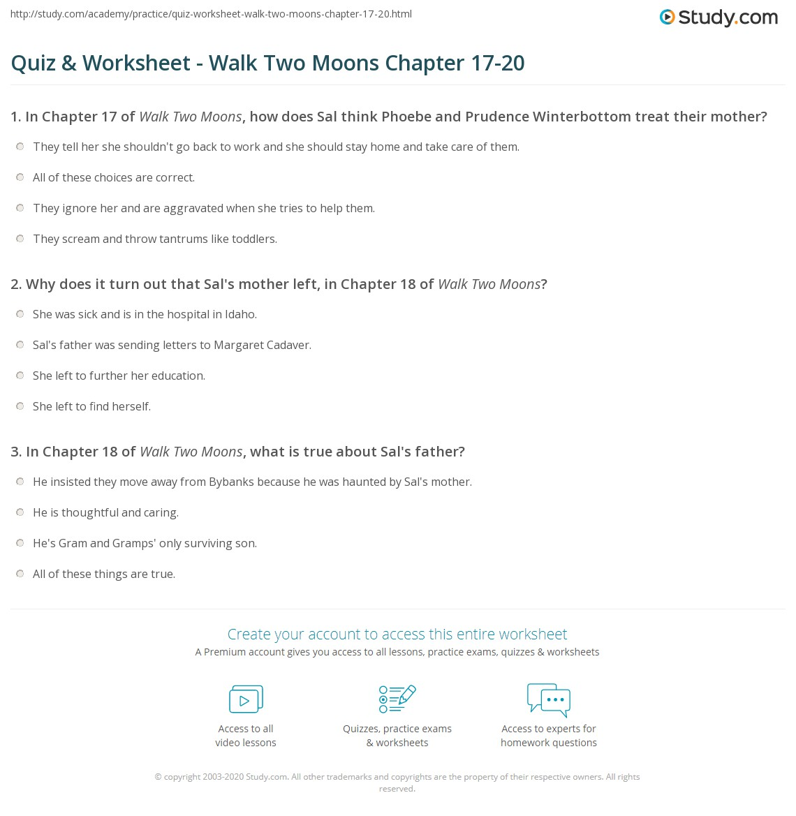 Worksheets Walk Two Moons Worksheets quiz worksheet walk two moons chapter 17 20 study com print summary chapters worksheet