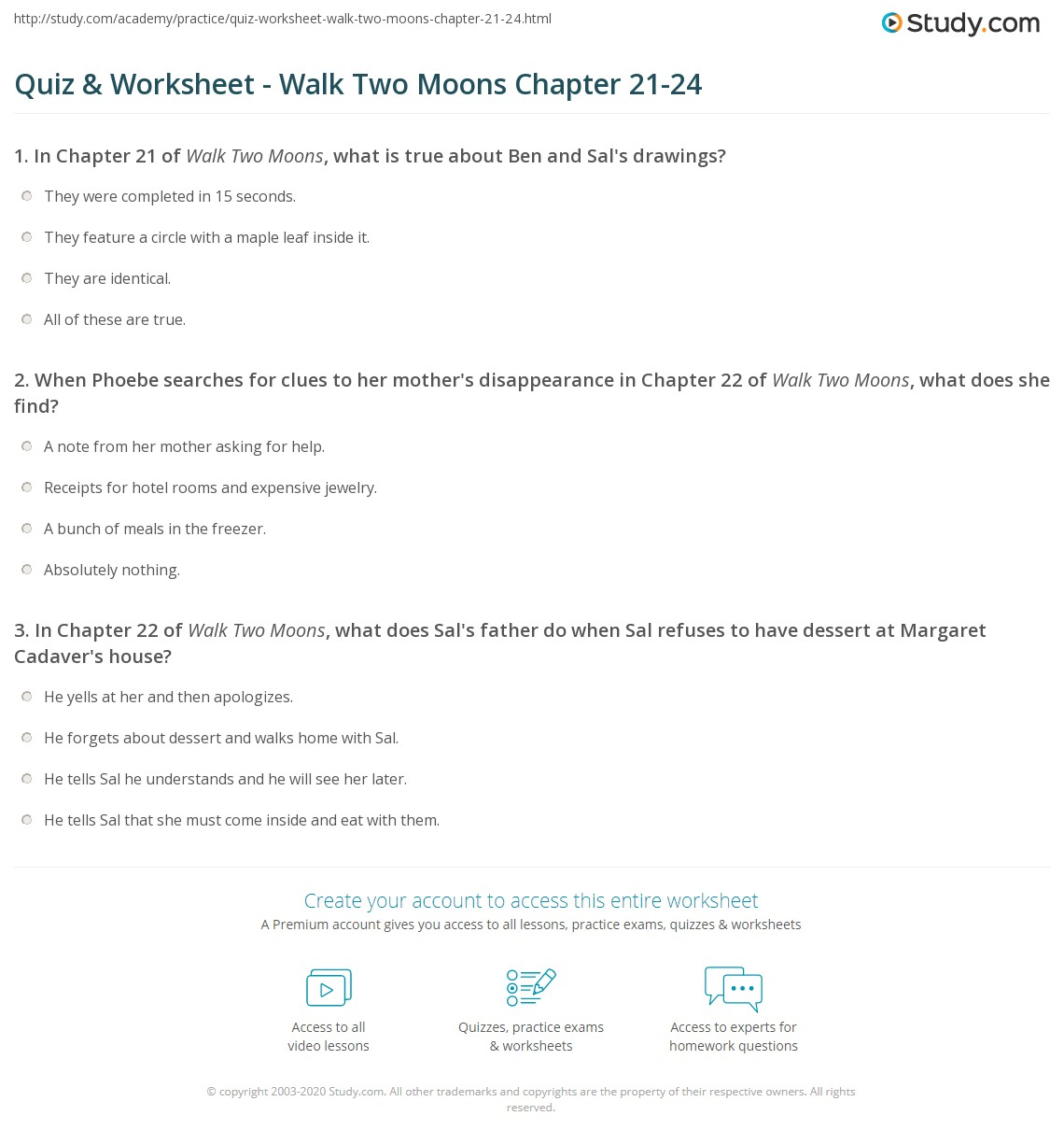 Worksheets Walk Two Moons Worksheets quiz worksheet walk two moons chapter 21 24 study com print summary chapters worksheet