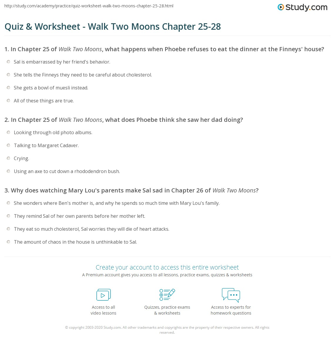 Worksheets Walk Two Moons Worksheets quiz worksheet walk two moons chapter 25 28 study com print summary chapters worksheet