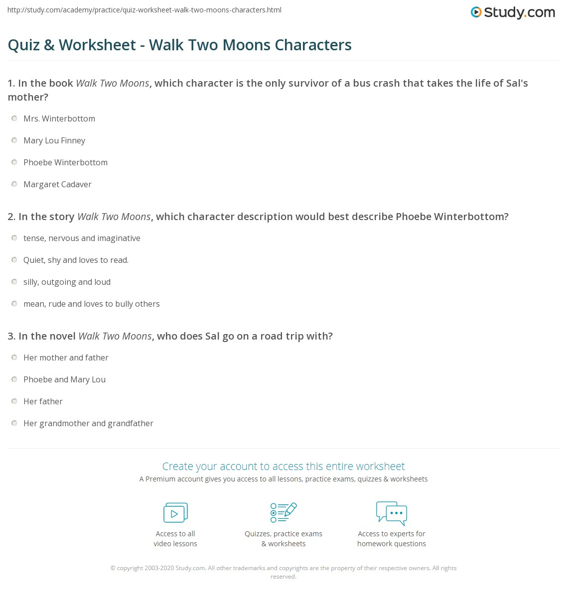 Worksheets Walk Two Moons Worksheets quiz worksheet walk two moons characters study com print worksheet