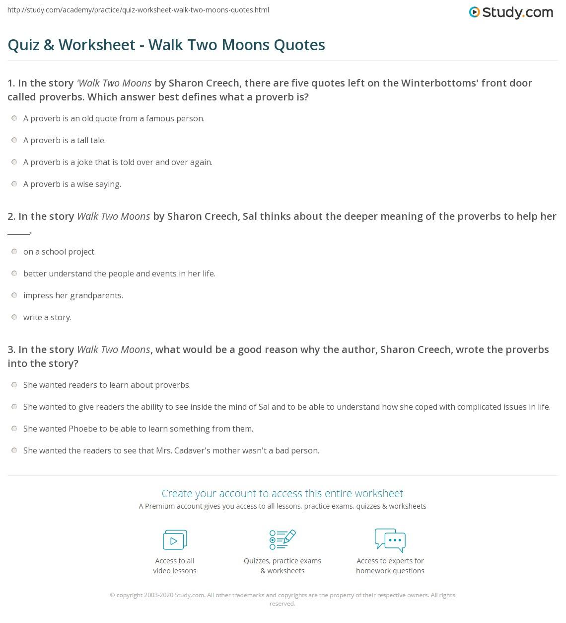 Quiz & Worksheet - Walk Two Moons Quotes | Study.com