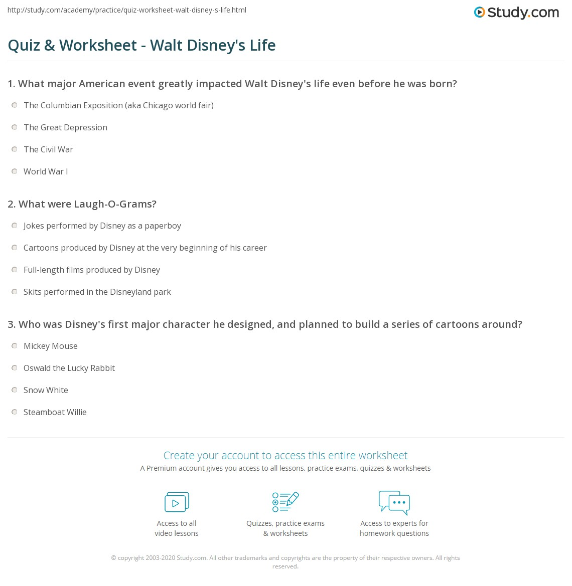 Quiz & Worksheet - Walt Disney\'s Life   Study.com